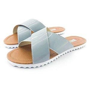 Rasteira Quality Shoes Feminina 008 Verniz Cinza