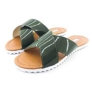 Rasteira Quality Shoes Feminina 008 Verniz Verde Musgo