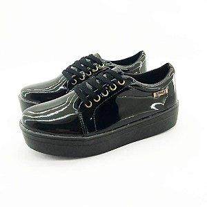 Tênis Flatform Quality Shoes Feminino 007 Verniz Preto Sola Preta