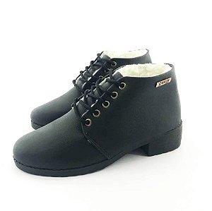 Bota Coturno Forrada em Lã Quality Shoes Feminina Courino Preto
