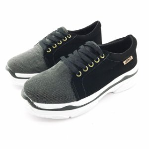 Tênis Chunky Quality Shoes Feminino Multicolor Preto Nobuck Preto