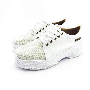 Tênis Chunky Quality Shoes Feminino Branco Quadriculado