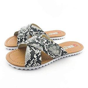 Rasteira Quality Shoes Feminina 008 Phyton Preto e Branco
