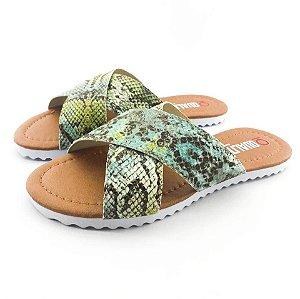 Rasteira Quality Shoes Feminina 008 Phyton Verde