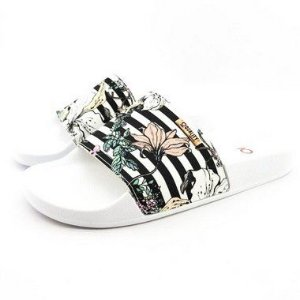Chinelo Slide Quality Shoes Feminino Listrado Preto e Branco Sola Branca