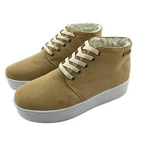Tênis Flatform Quality Shoes Feminino Forrado em Lã Camurça Bege