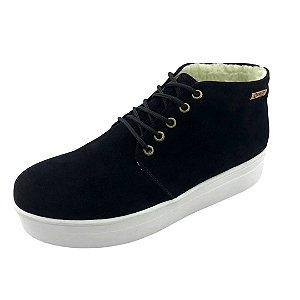 Tênis Flatform Quality Shoes Feminino Forrado em Lã Camurça Preta