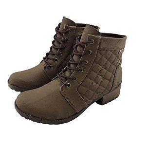 Bota Coturno Quality Shoes Feminina Courino/Matelassê Café
