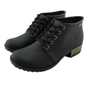 Bota Coturno Quality Shoes Feminina Courino Preto