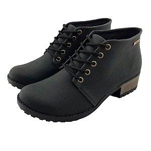 Bota Coturno Quality Shoes Feminina Courino Preto
