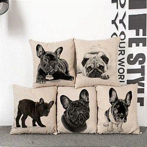 Kit 5 Capas de Almofada Algodão Linho Customizada Cachorros
