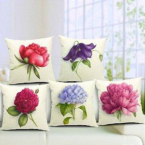 Kit 5 Capas de Almofada Algodão Linho Customizada Flores