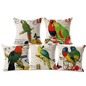 Kit 5 Capas de Almofada Algodão Linho Customizada Papagaios