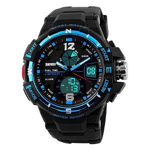Relógio Skmei Sk-1148 Original Dual Time Azul
