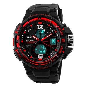 Relógio Skmei Sk-1148 Original Dual Time Vermelho