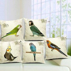 Kit 5 Capas de Almofada Algodão Linho Customizada Pássaros