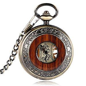 Relógio de Bolso Automático Esqueleto Madeira com Tampa