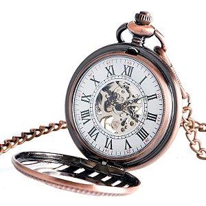 Relógio Bolso Esqueleto Automático Yisuya P2040c
