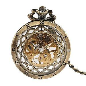 Relógio Bolso Esqueleto Automático Yisuya Vintage