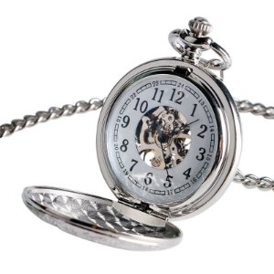 Relógio Bolso Esqueleto Automático Yisuya Prata