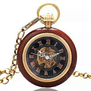 Relógio Bolso Automático Esqueleto Madeira