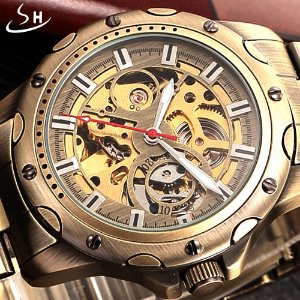Relógio Esqueleto Shenhua Automático Sh9536