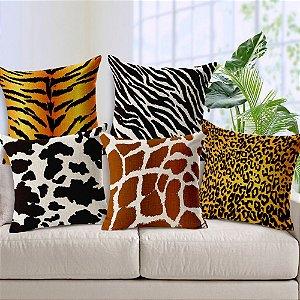 Kit 5 Capas de Almofada Algodão Linho Customizada Zebra