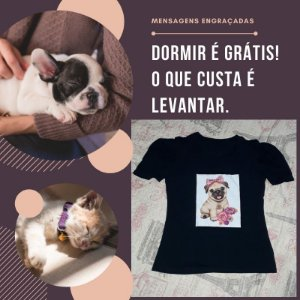 Camiseta estampa Dog e Cat