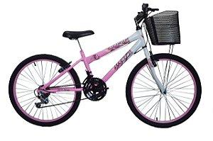 Bicicleta infantil feminina aro 24 Rosa 18 marchas feminina Rebaixada