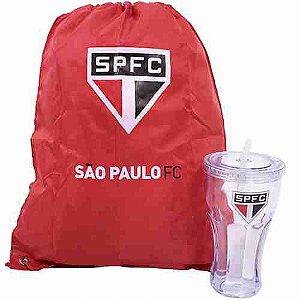 Copo Com Canudo 550ml E Mochila Tipo Saco - São Paulo SPFC