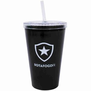Copo Plástico Canudo 500ml - Botafogo