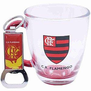 Jg Com Uma Caneca De Vidro E Um Abridor De Garrafas 370ml - Flamengo