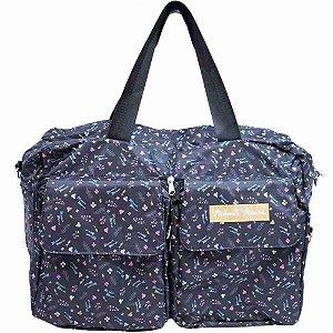 Bolsa Dobrável De Viagem Preta Flores Minnie Mouse 46X37cm - Disney