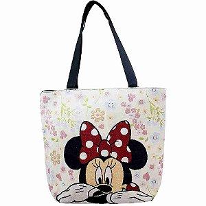 Bolsa Tote Flores Rosto Minnie - Disney
