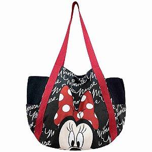 Bolsa Preta Assinatura Rosto Minnie - Disney