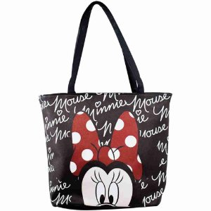 Bolsa Tote Preta Assinatura Rosto Minnie - Disney
