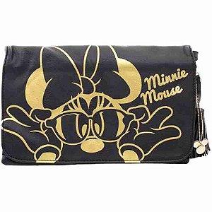 Bolsa Tiracolo Preta Minnie Dourada - Disney