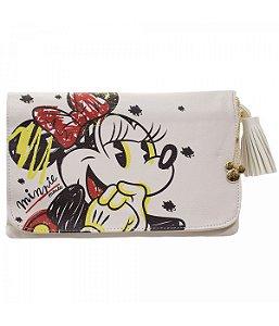 Bolsa Tiracolo Branca Minnie Grafite - Disney