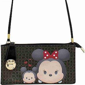 Bolsa Carteira Preta Mickey & Minnie Tsum Tsum - Disney