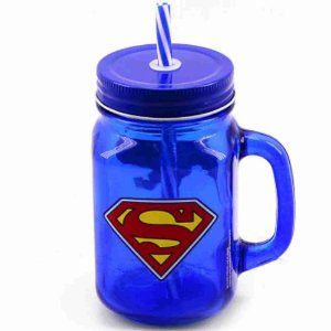Caneca Vidro C/ Canudo Super Homem - Liga Da Justiça 450ml