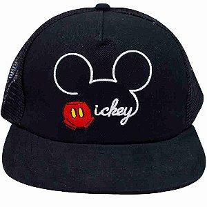 Boné Preto Mickey Aba Reta - Disney