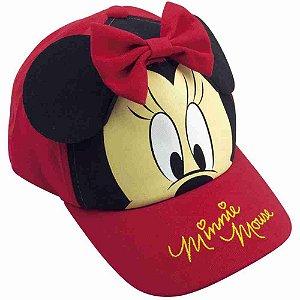 Boné Infantil Vermelho Com Preto Orelhas Minnie E Laço - Disney