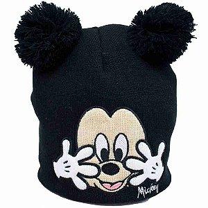 Gorro Preto Mickey Pompom 21X22cm - Disney