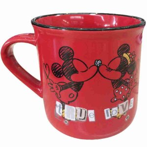 Caneca De Porcelana Vermelha Mickey & Minnie True Love 280ml - Disney