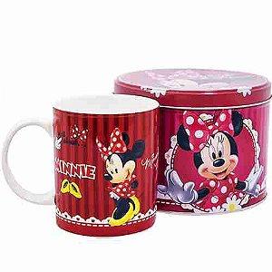 Caneca De Porcelana Na Lata Vermelha Minnie 350ml - Disney