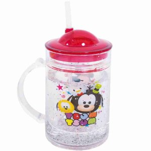 Caneca Com Tampa E Canudo Mickey & Minnie Tsum Tsum 200ml - Disney