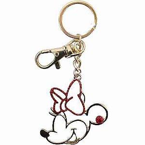 Chaveiro Minnie Dourado Laço Vermelho - Disney
