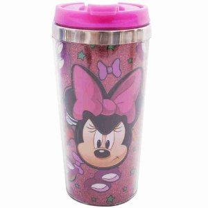 Copo Térmico Rosa Com Tampa Minnie Bravinha 450ml - Disney