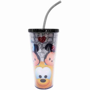 Copo Com Cubos De Gelo Preto Mickey E Minnie Tsum Tsum 600ml - Disney