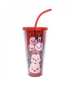 Copo Com Cubos De Gelo Vermelho Mickey E Minnie Tsum Tsum 600ml - Disney